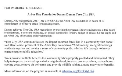 Arbor Day Foundation Names Dumas Tree City USA